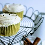 chai latte cupcakes on cake stand
