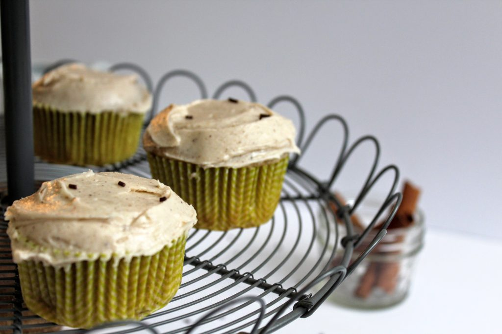 chai latte cupcakes on cupcake stand
