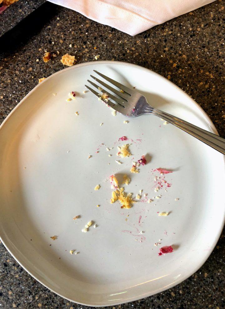 marionberry rhubarb tart empty plate