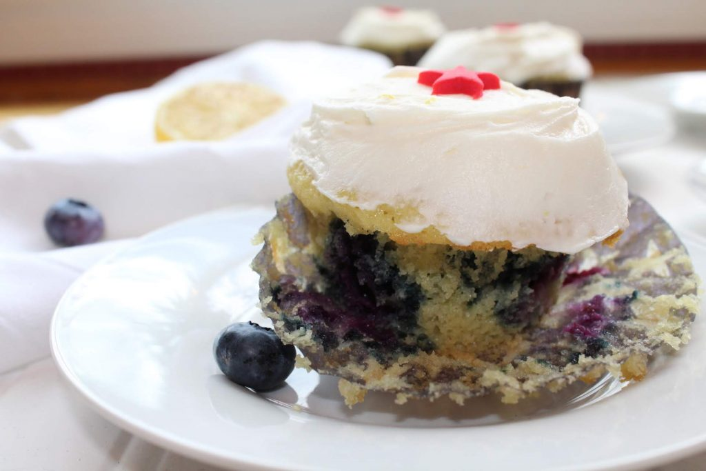 blueberry lemon cupcake cut in half
