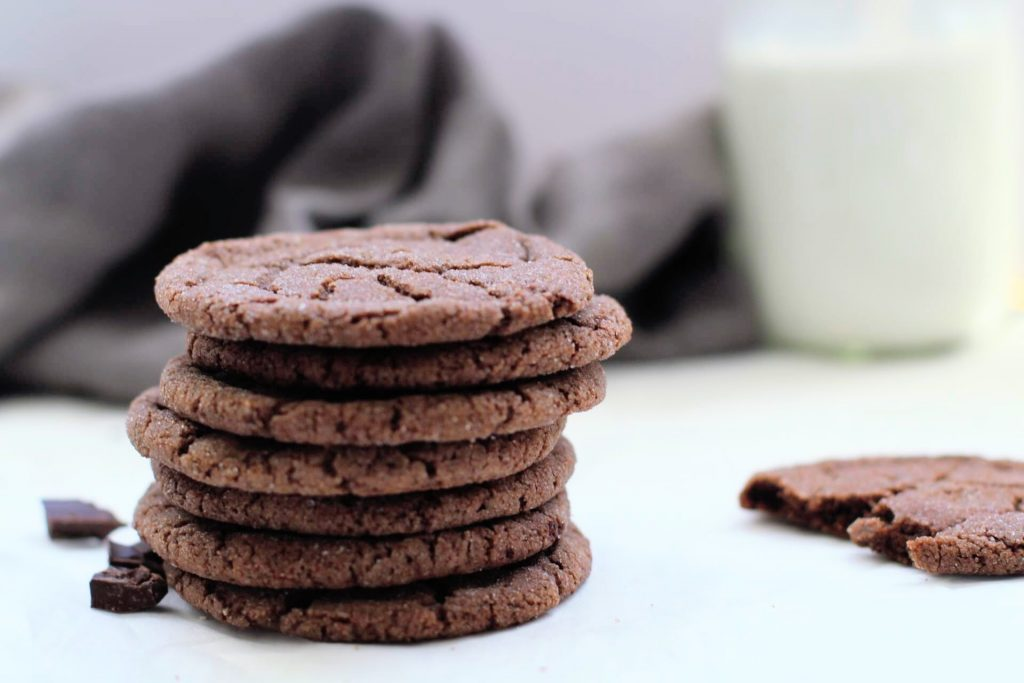 stacked chocolate sugar cookies