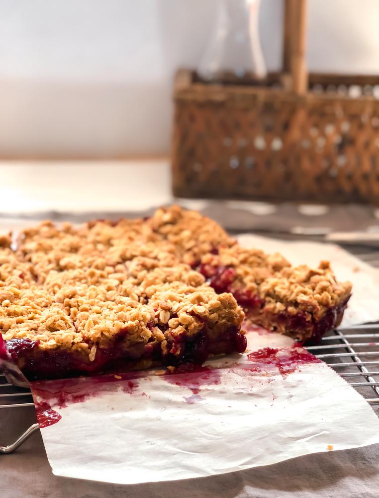 plum crumb bars overhead