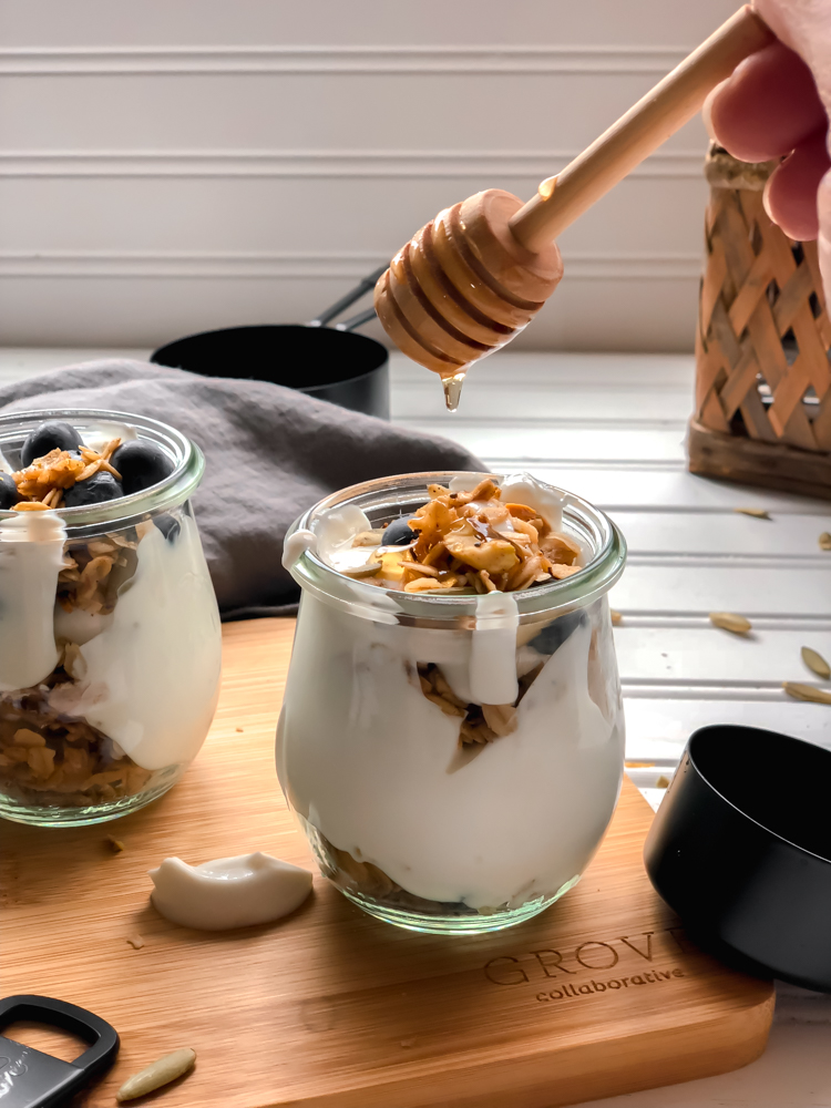 chai granola with dripping honey