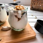 chai granola dripping honey measuring cup