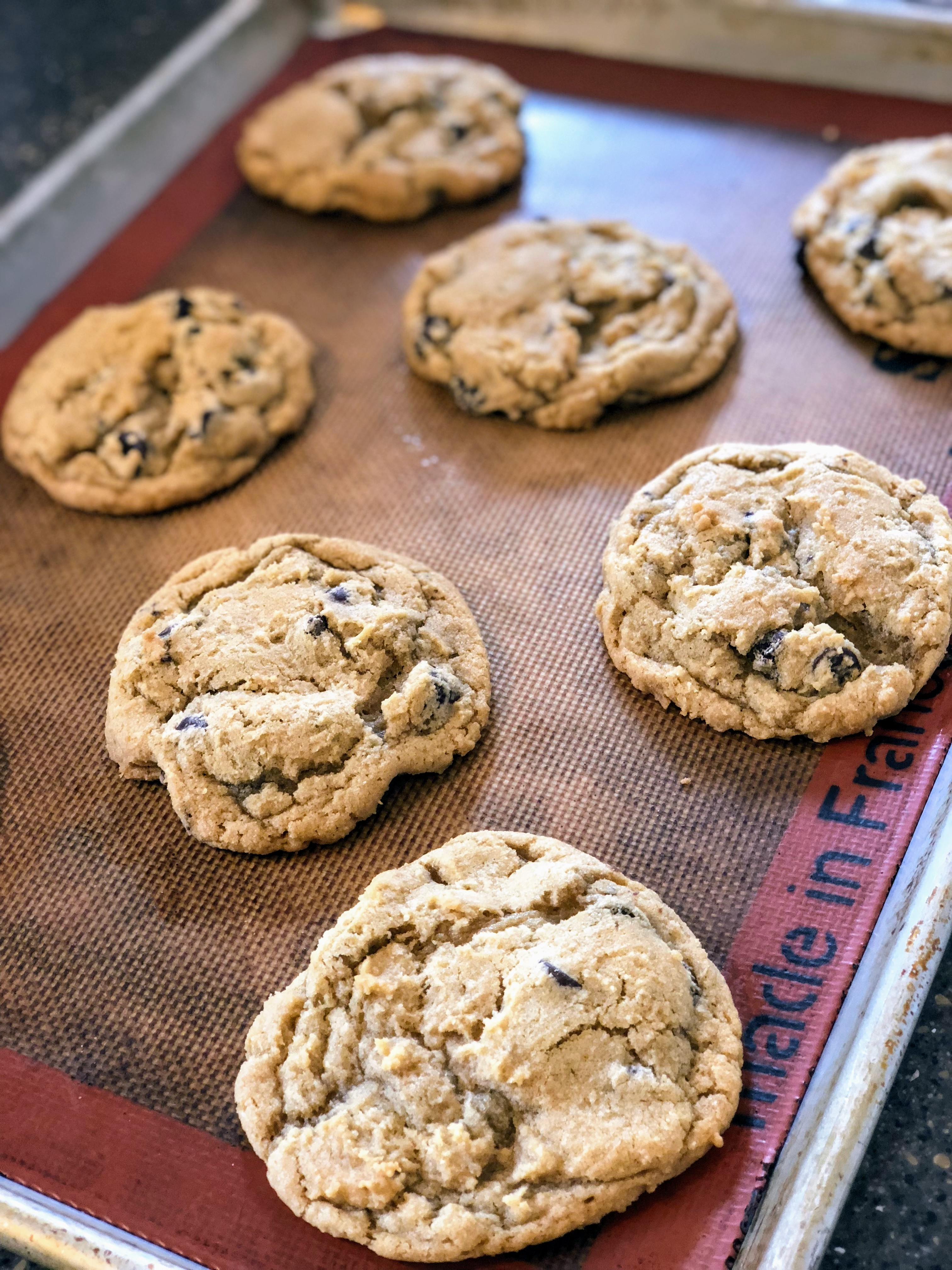 chocolate chip cookies on silpat