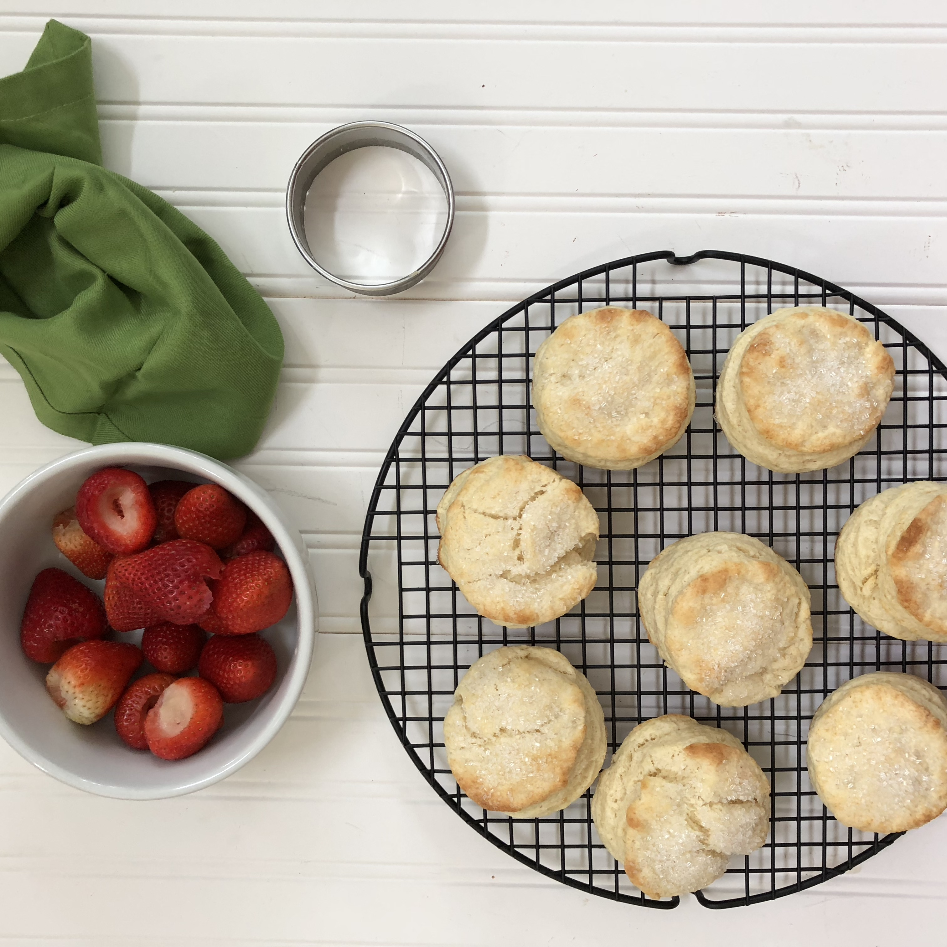 strawberry shortcake biscuits bowl of strawberries