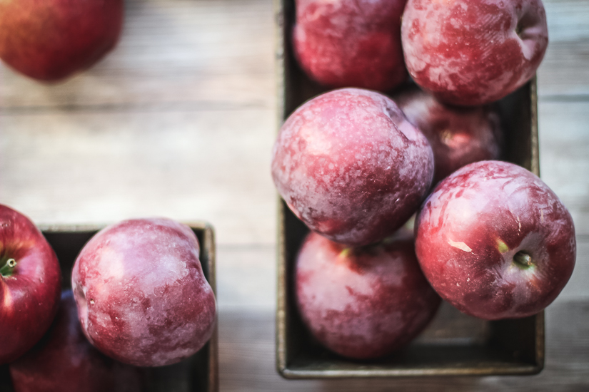 Ruby Mac apples in old tins