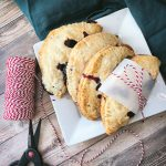 blueberry apple turnover overhead with string and scissors
