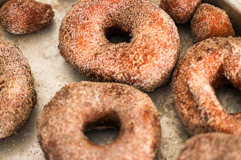 pumpkin brioche doughnuts overhead closeup