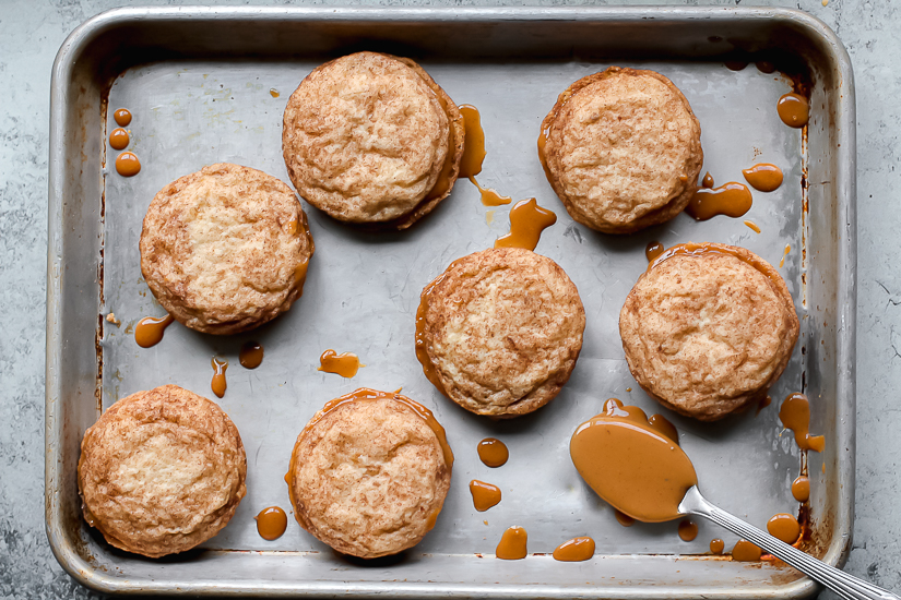 dulce de leche on cookie sheet with spoon