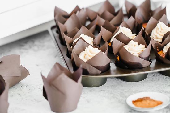 pumpkin nutella cupcakes in pan side view