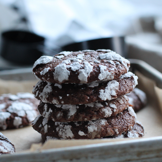 chocolate espresso crinkle cookies 1 stacked