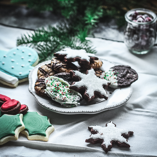 cookies on a plate with napkin
