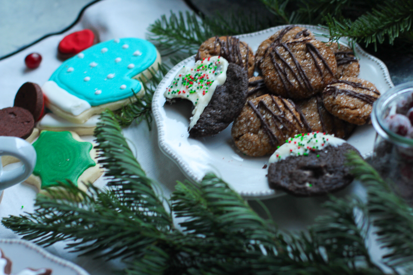 cookies on a plate with greenery