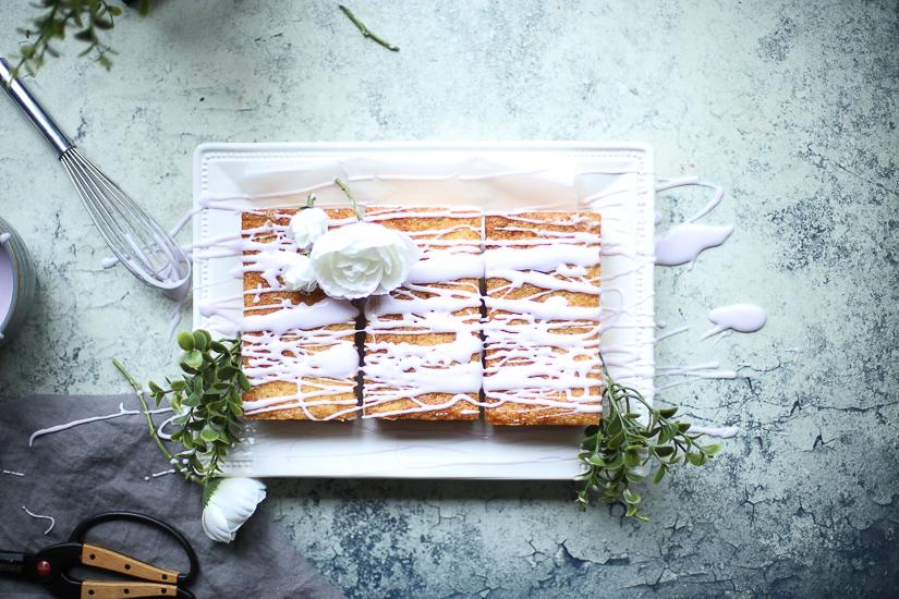 honey lavender mini cakes and creme fraiche icing overhead