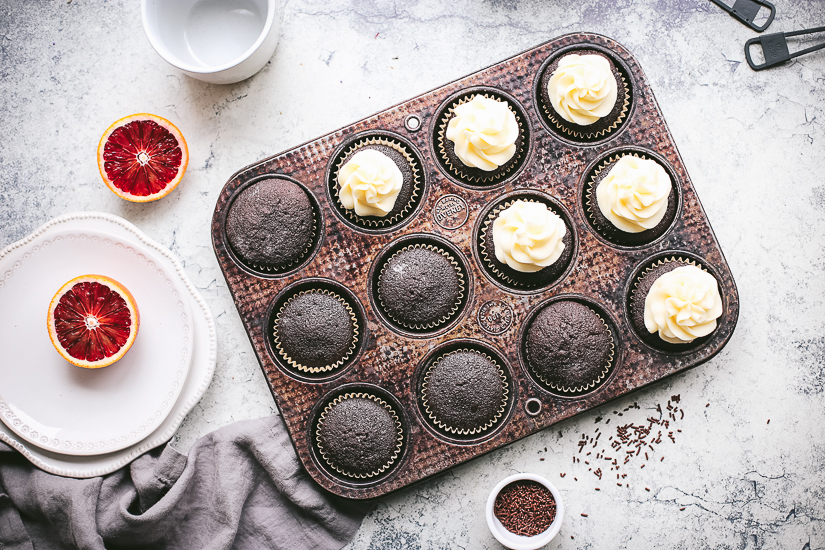 chocolate blood orange cupcakes in ovenex pan