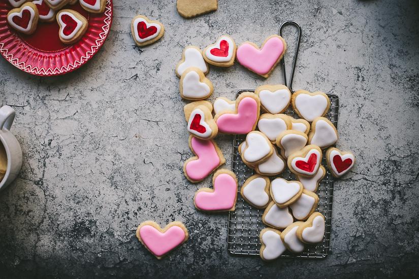 valentine heart sugar cookies three colors on rack