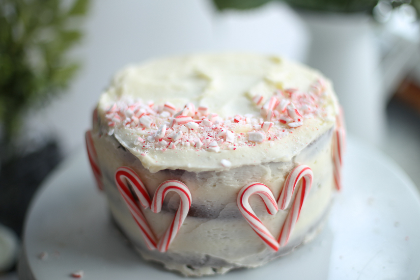 chocolate peppermint layer cake whole cake