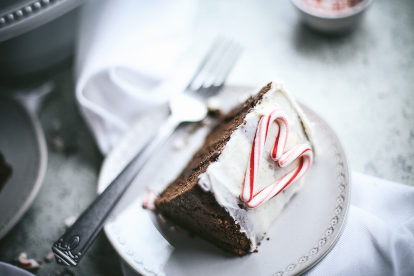 chocolate peppermint layer cake slice on side