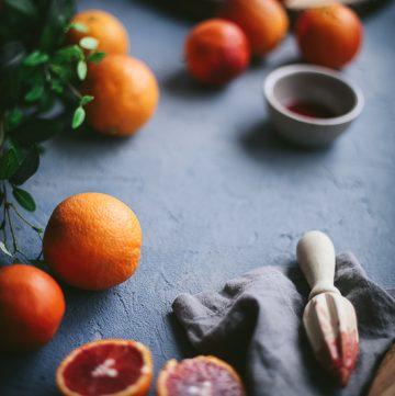 blood oranges close up