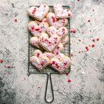 valentine sugar cookies on wire rack