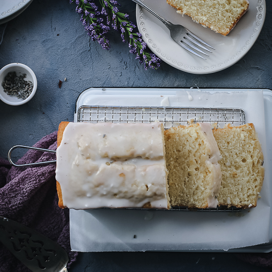 lemon pound cake with lemon lavender glaze overhead