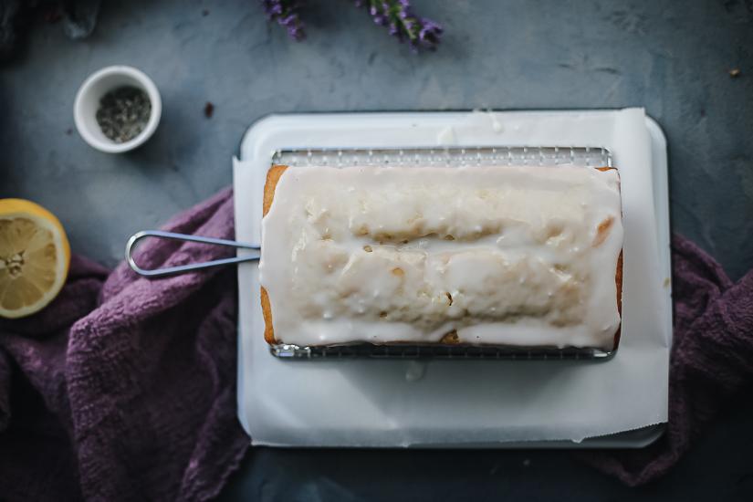 lemon pound cake with lemon lavender glaze overhead full loaf