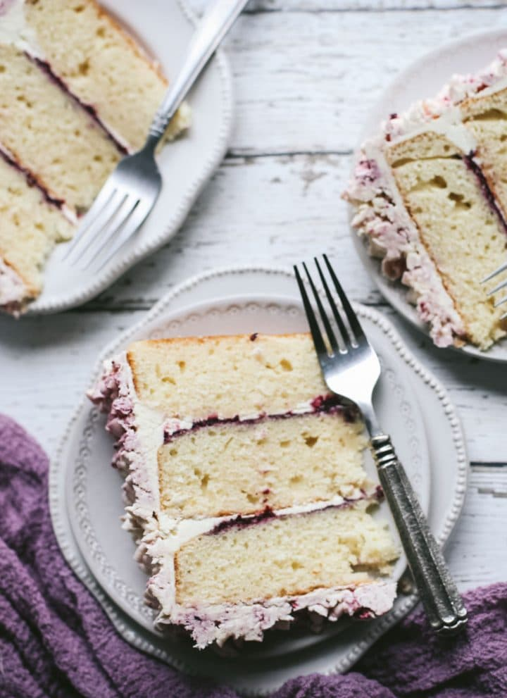 marionberry lavender layer cake on plates