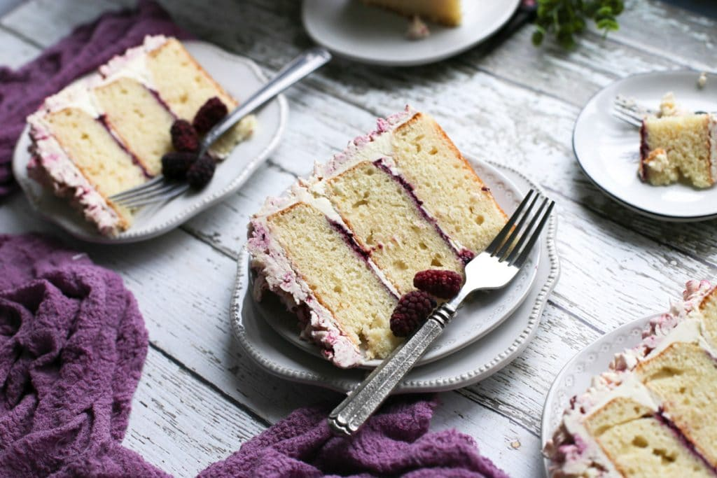 marionberry lavender layer cake sliced