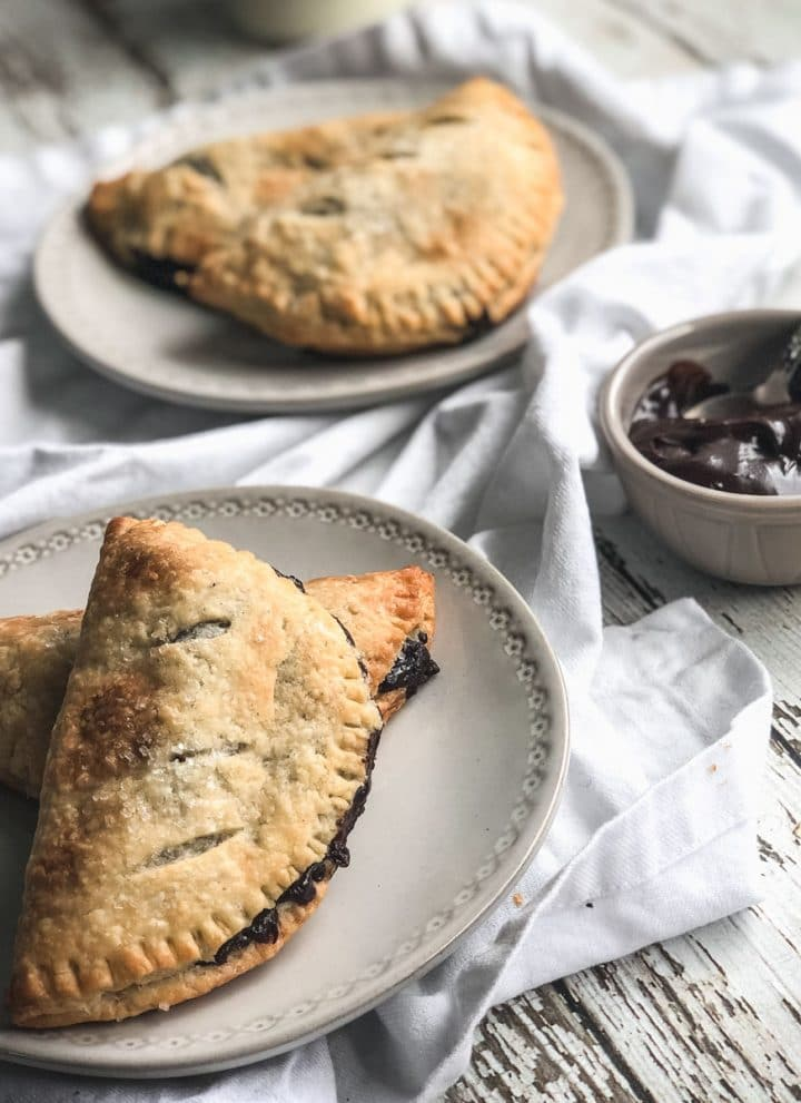 chocolate cream hand pies on plates