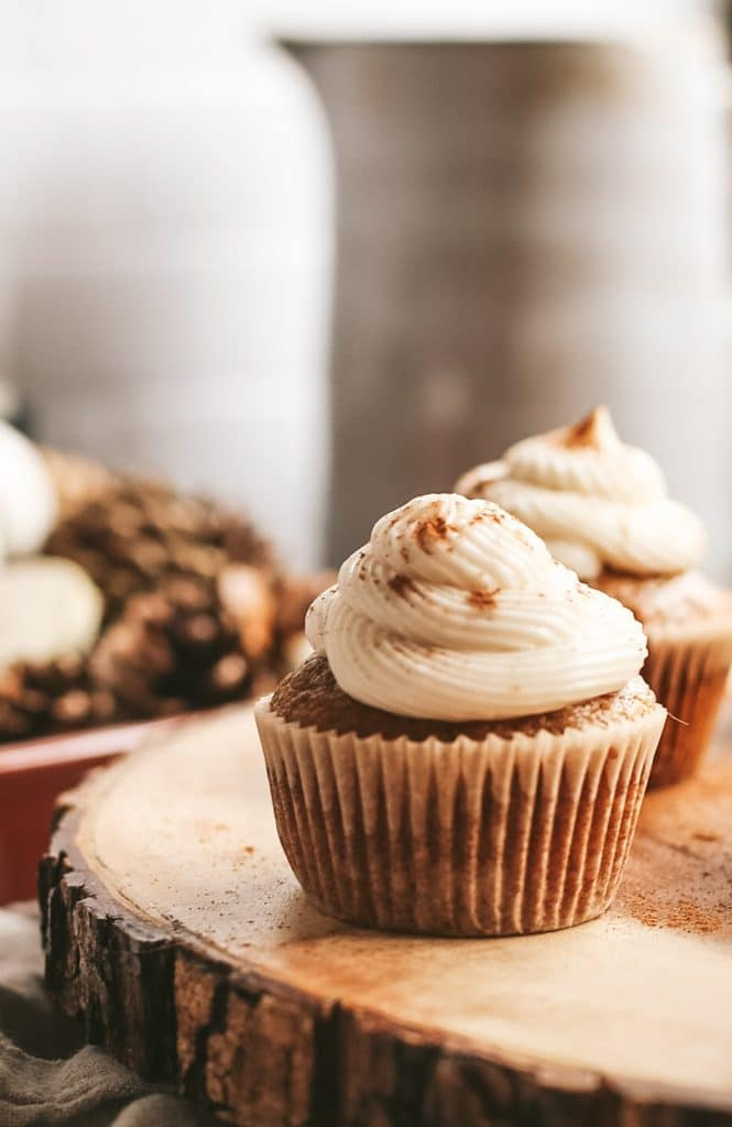 close up pumpkin cupcakes with maple buttercream